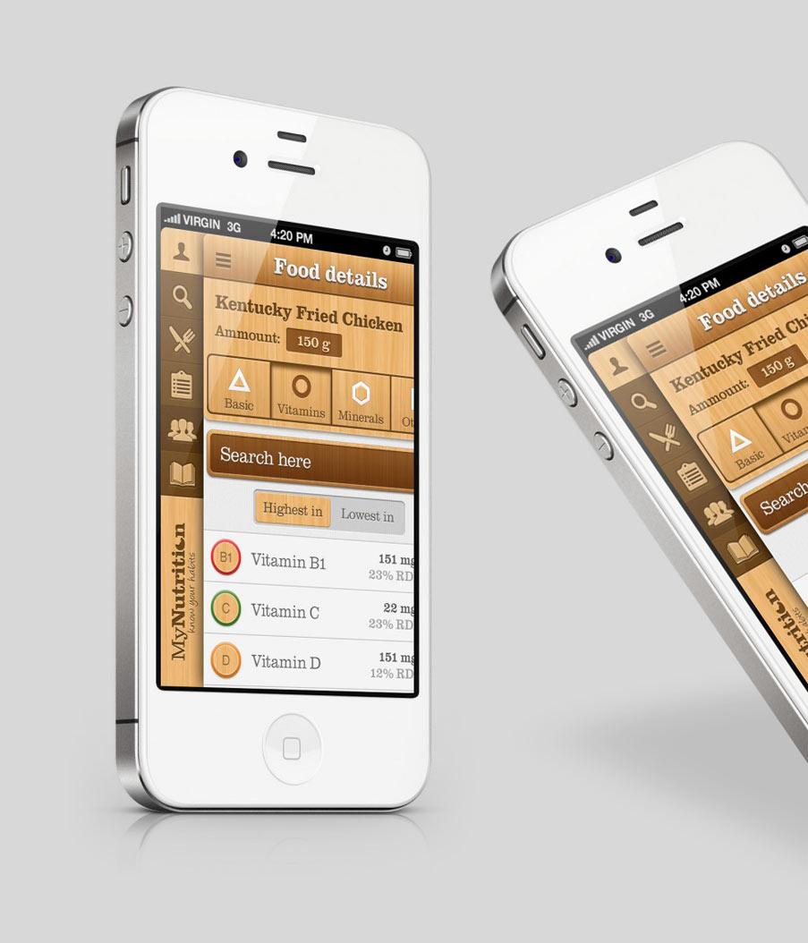 dizajn aplikacije nutrition