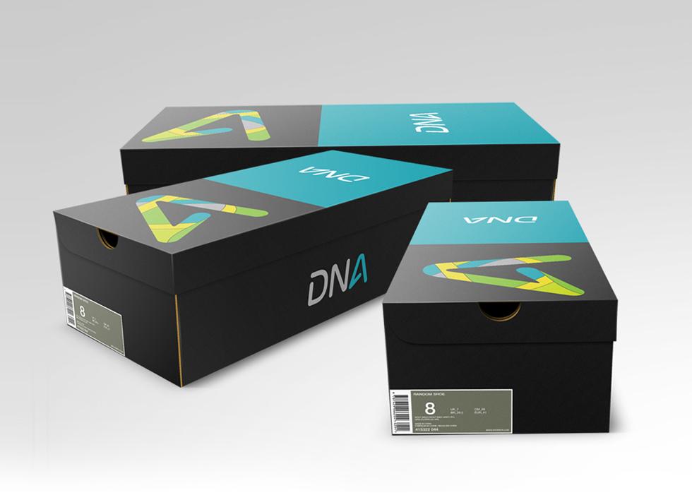 dizajn ambalaže za obuću DNA