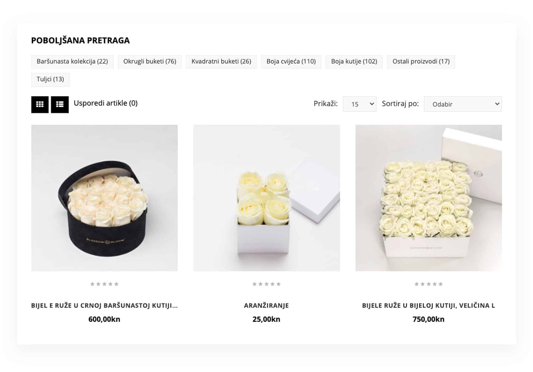 stranica proizvoda web shop
